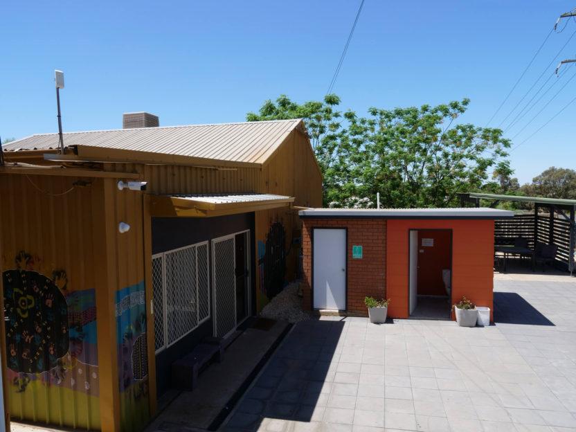 Community building entrance & toilets