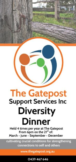 Diversity Dinner on 21 March 2019 from 6:00pm at the Gatepost.