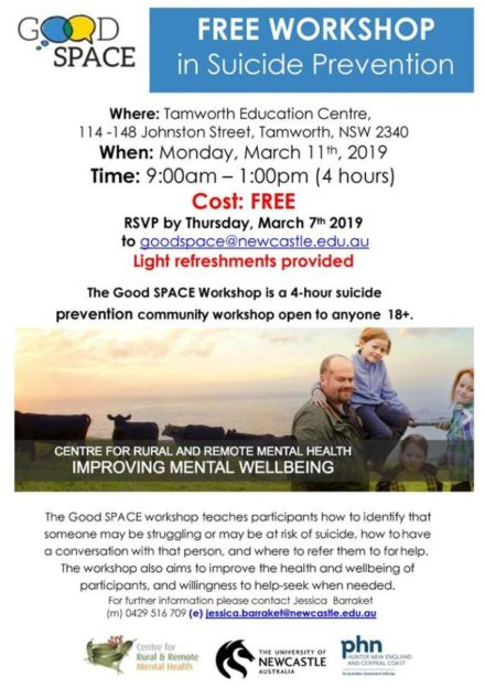 Free Suicide Prevention Workshop Tamworth
