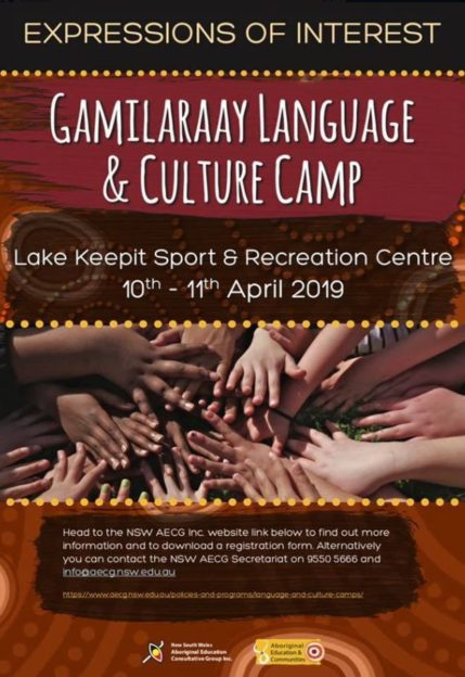 Gamilaraay Language And Culture Camp Flyer