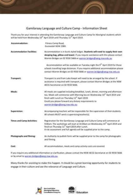 Gamilaraay Language And Culture Camp Information Sheet
