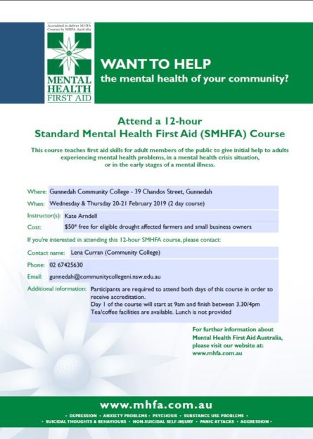 Standard Mental Health First Aid (SMHFA) Course   Wednesday & Thursday 20-21 February 2019 (2 day course)