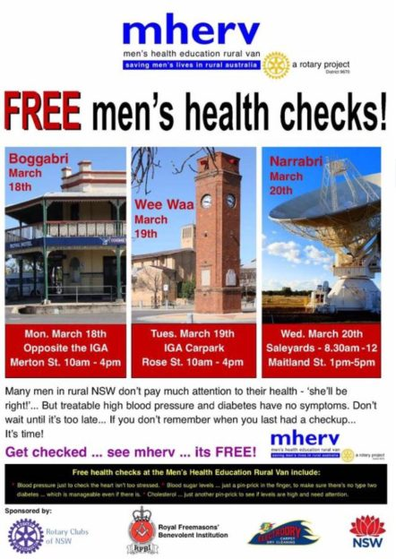 Mens Health Checks, Boggabri, Wee Waa, Narrabri